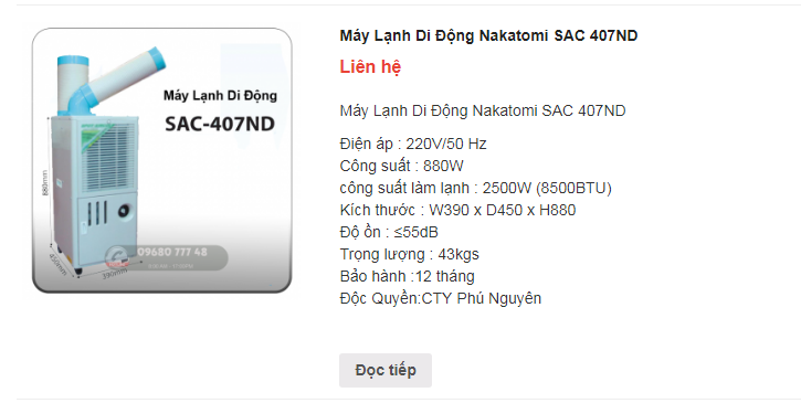 Công dụng máy điều hoà làm mát điểm SAC 407ND