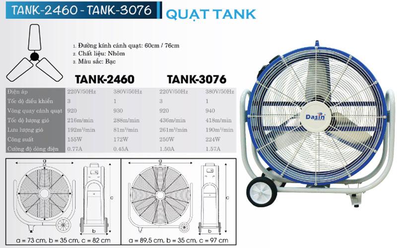 Quạt sàn công nghiệp Dasin Tank2460, Tank 3076